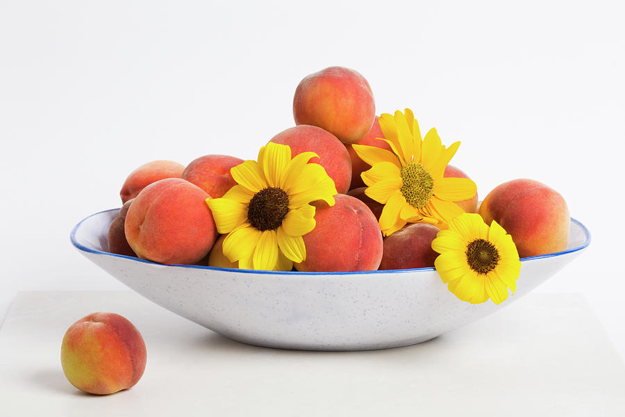 Peach Photograph - Peaches And Sunflowers by Diane Macdonald
