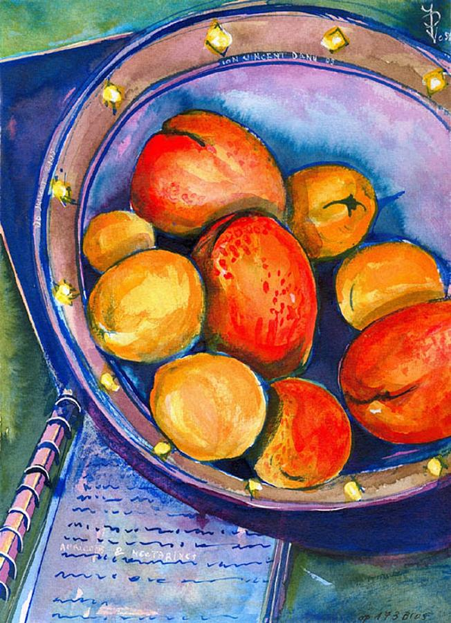 Fruits Painting - Peaches by Ion vincent DAnu