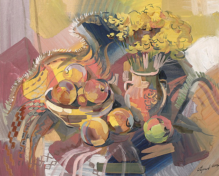 Peaches Painting - Peaches With Immorteles by Meruzhan Khachatryan