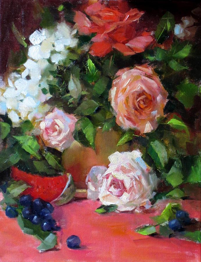 Pear Still Life Painting - Peachy by Chris  Saper