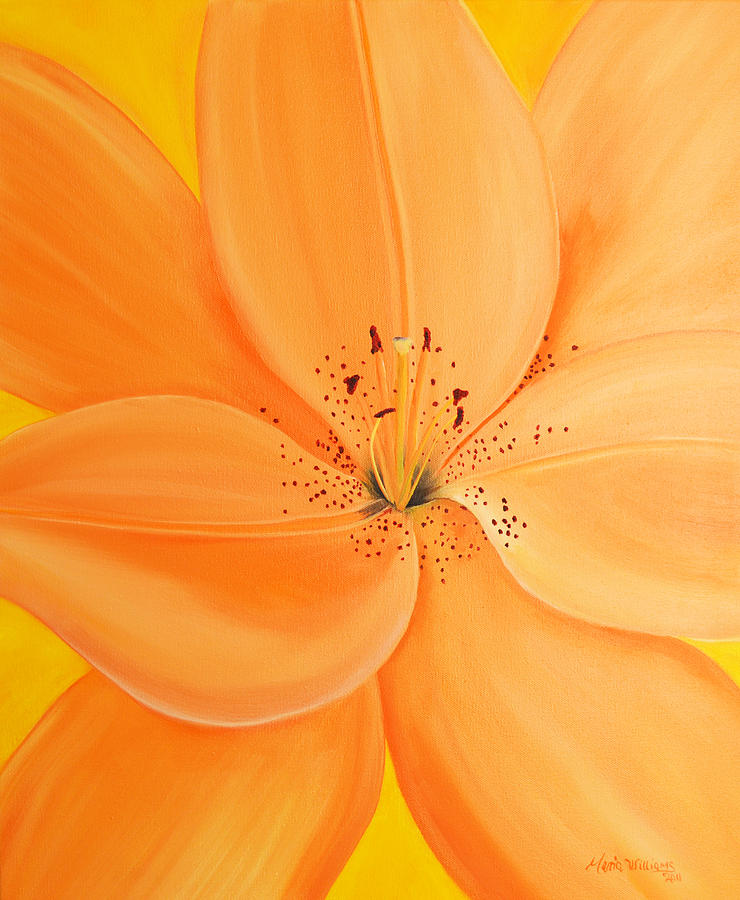 Balloon Flower Painting - Peachy Summer by Maria Williams
