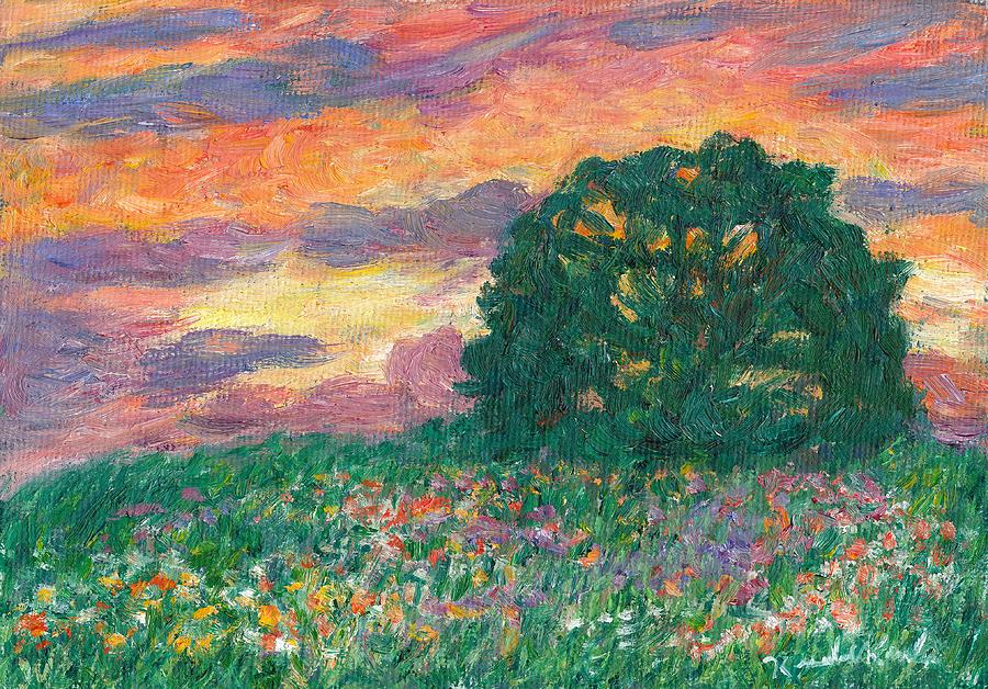 Landscape Painting - Peachy Sunset by Kendall Kessler