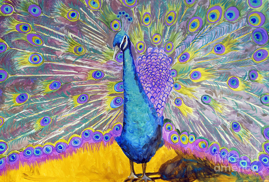 Painting Painting - Peacock Dance by Miriam  Schulman