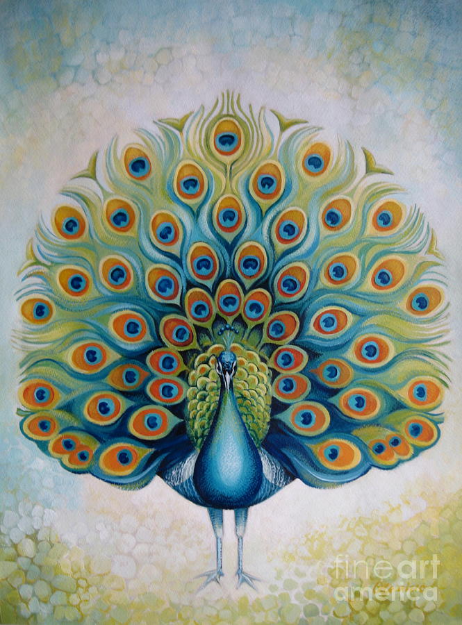 Peacock Painting by Elena Oleniuc