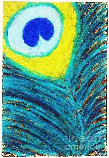 Peacock Feather Abstract In Oil Pastel And Oil