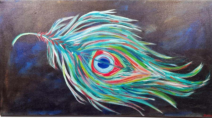 Peacock Painting - Peacock Feather by Sierra Francis