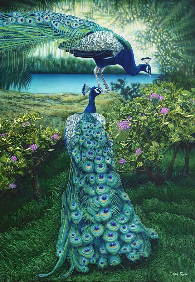 Peacock Garden Painting By Larry Taugher