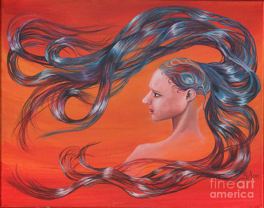 Peacock Painting - Peacock Girl Hair by Sonya Barnes