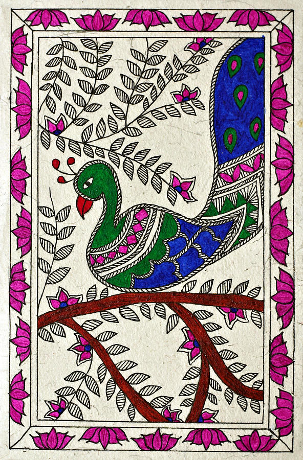 Madhubani Drawing - Peacock In Bloom by Neha Dasgupta