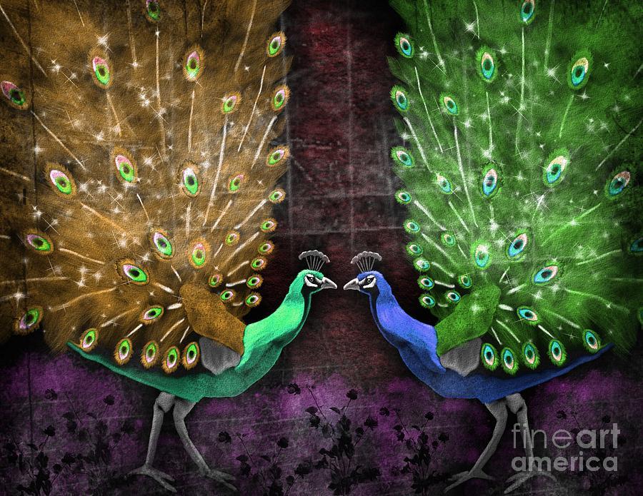 Peacock Painting - Peacock Magic by Karen Sheltrown