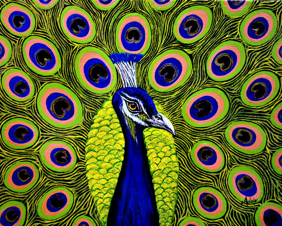 Peacock Painting - Peacock Mistique by Adele Moscaritolo