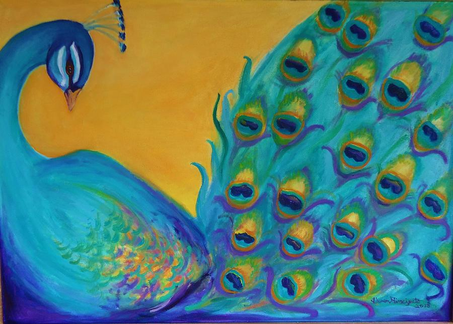 Birds Exotic Painting - Peacock Prince by Gwen Carroll
