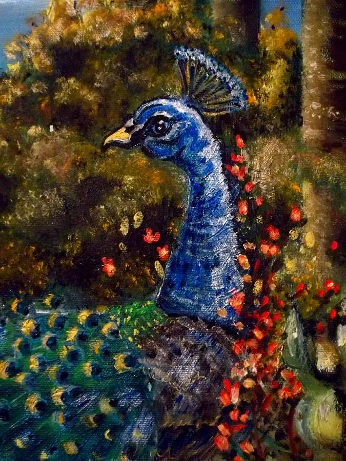 Peacock Painting - Peacock Royalty by M E Wood