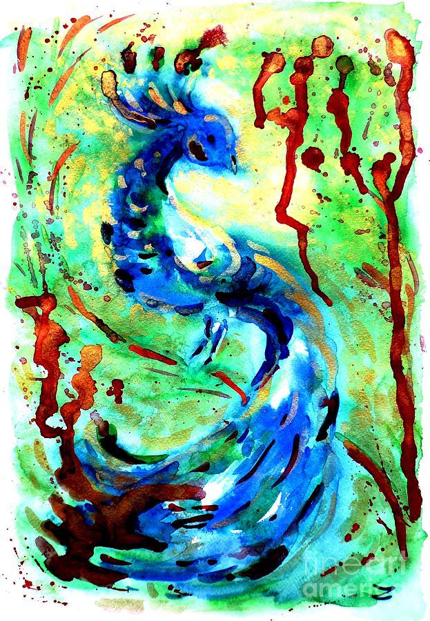 Peacock Painting - Peacock by Zaira Dzhaubaeva