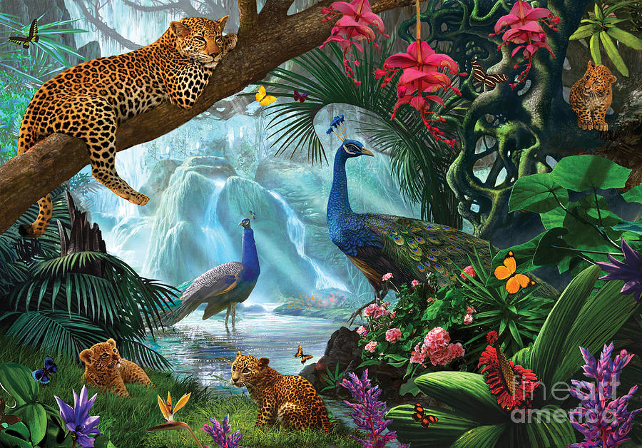 Peacocks And Leopards Digital Art By Steve Crisp