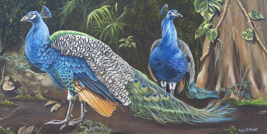 Birds Painting - Peacocks In The Garden by Phyllis Beiser