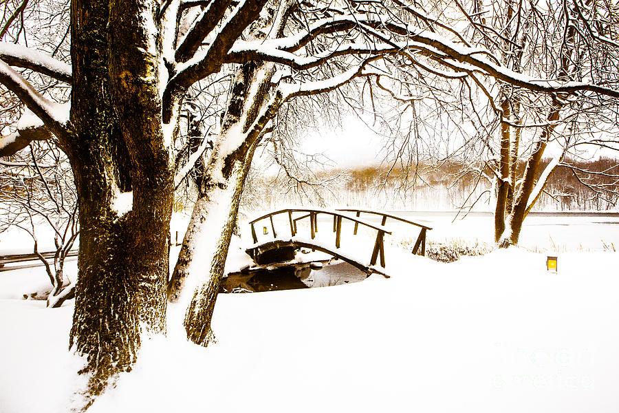 Peaks Photograph - Peaks Snow Bridge by Mark East