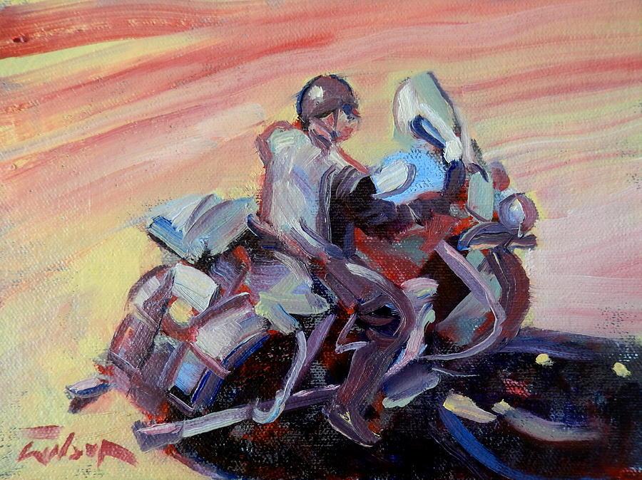 Skid Lid Painting - Peanut Lid Biker - Skid Lid Helmet by Ron Wilson