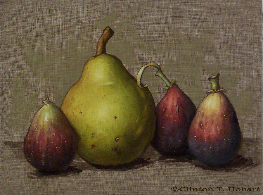 Pear Painting - Pear and Figs by Clinton Hobart