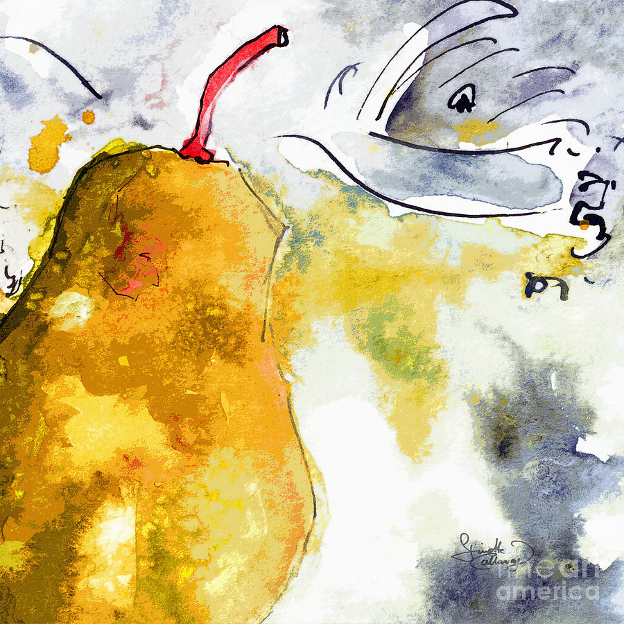 Pears Painting - Pear Modern Whimsical Art by Ginette Callaway