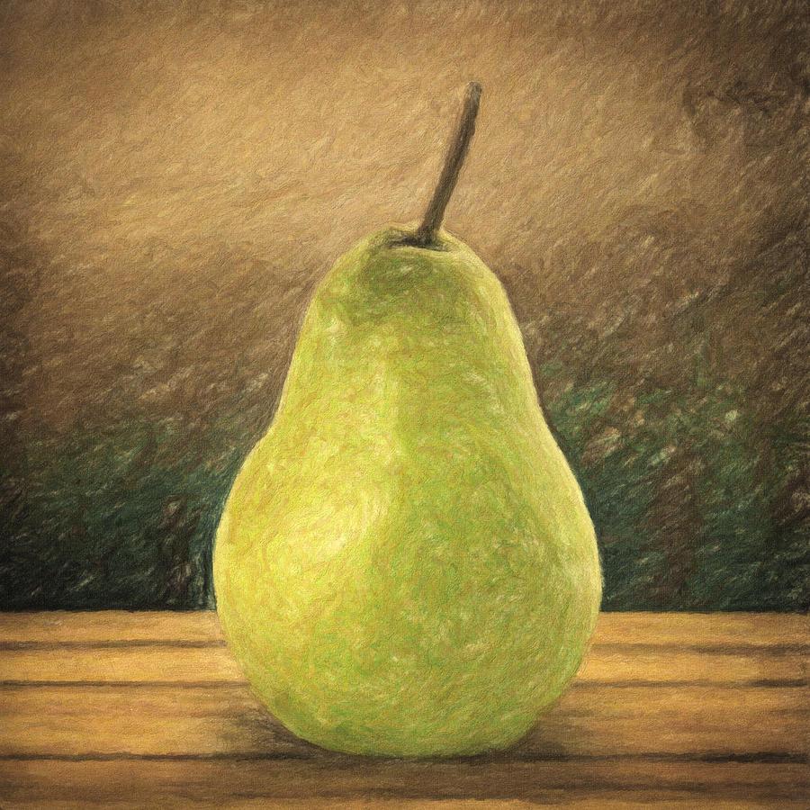 Still Life Painting - Pear by Taylan Apukovska