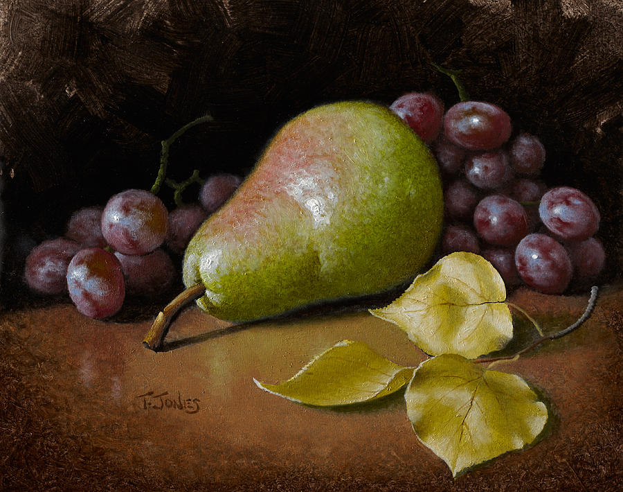 Pear Painting - Pear With Birch Leaves by Timothy Jones