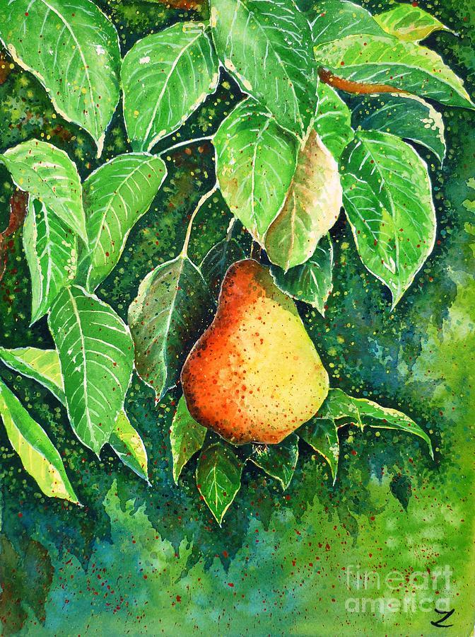 Pear Painting - Pear by Zaira Dzhaubaeva