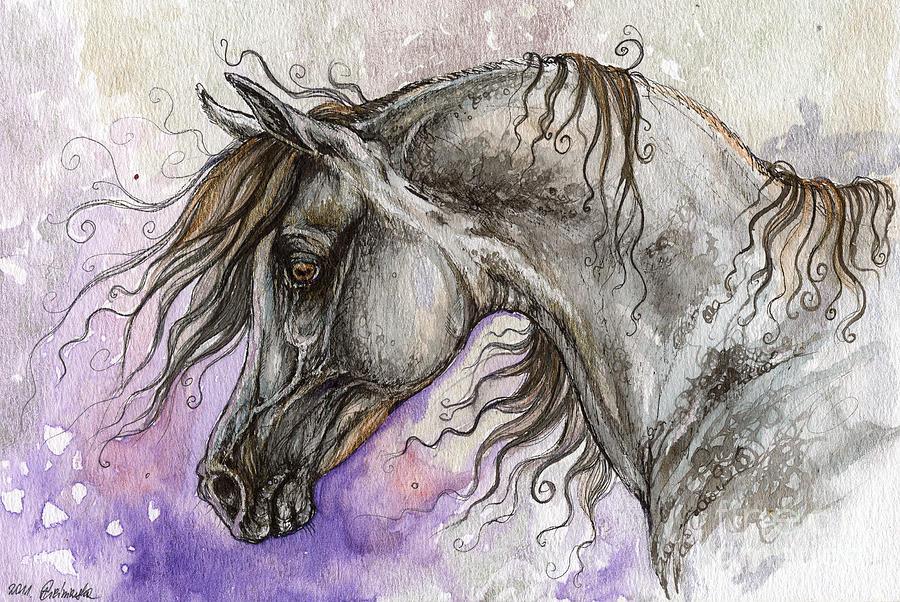 Horse Painting - Pearl Arabian Horse by Angel  Tarantella