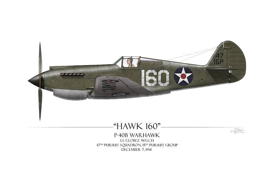 Aviation Painting - Pearl Harbor P-40 Warhawk - White Background by Craig Tinder