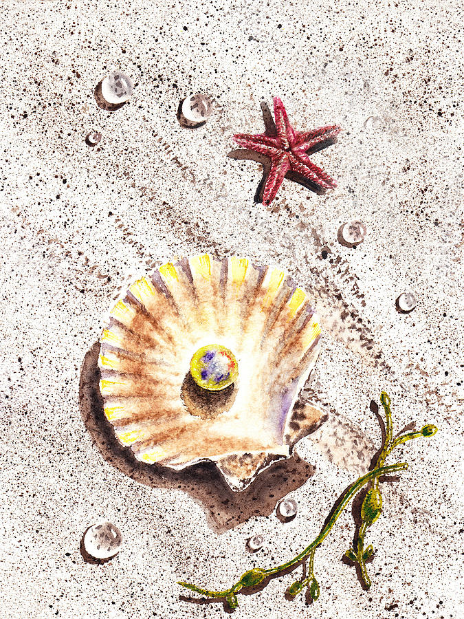 Seashell Painting - Pearl In The Seashell Sea Star And The Water Drops by Irina Sztukowski