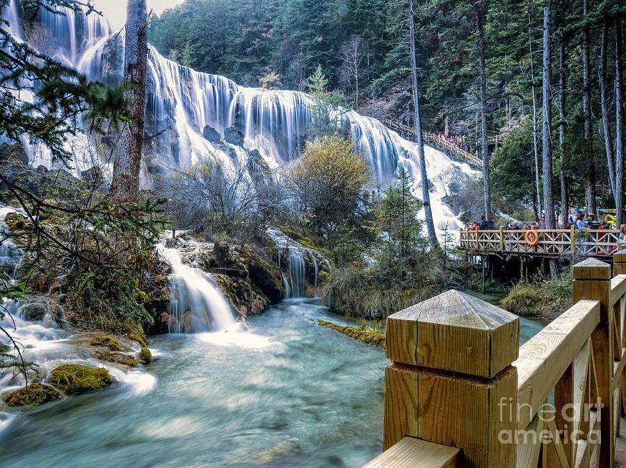 Pearl Shoal Waterfall Photograph - Pearl Shoal Waterfall in Jiuzhaigou China by Mark Carnaby