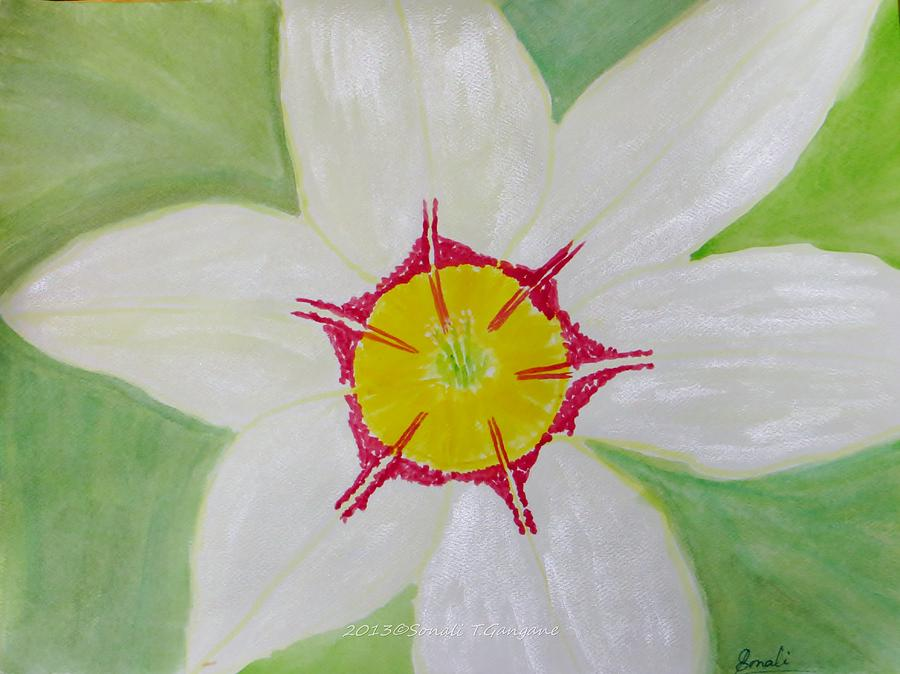 Pearl White Painting - Pearl White Flower by Sonali Gangane