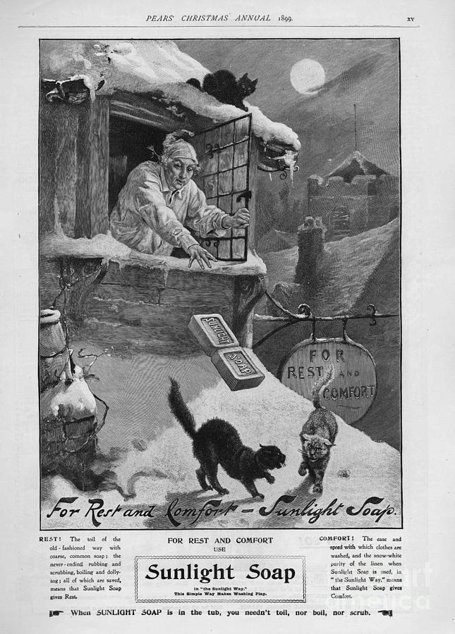 1890s Drawing - Pears  1899 1890s Uk Cc Sunlight Winter by The Advertising Archives