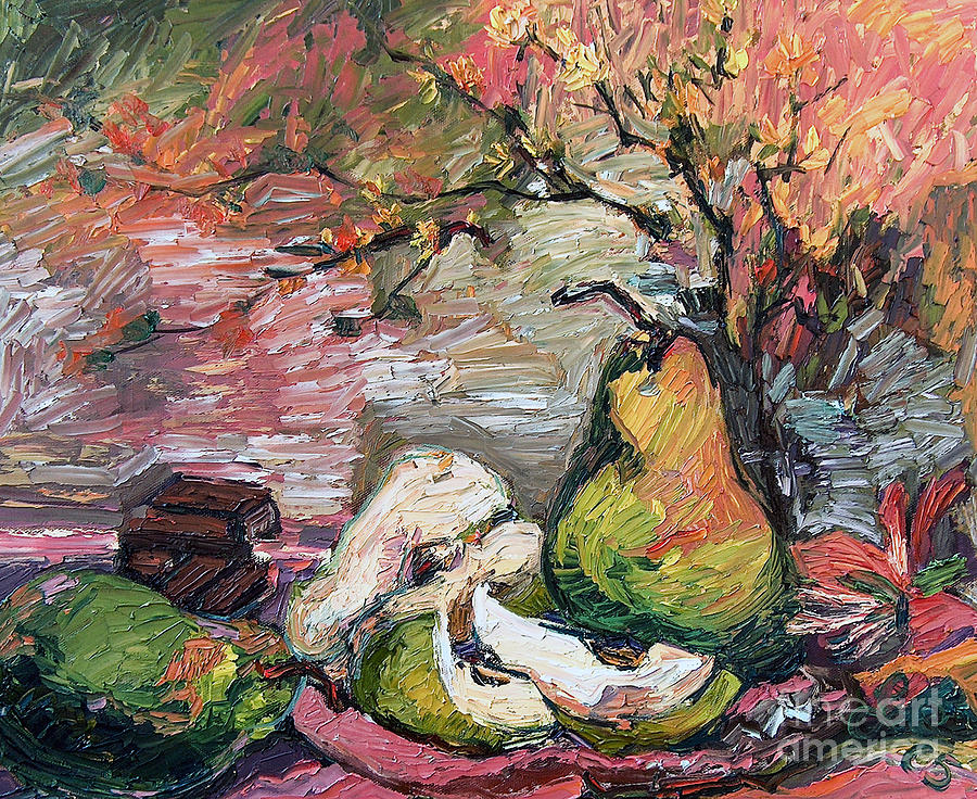 Pears and Chocolate Still Life Painting by Ginette Callaway