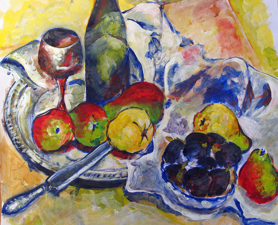 Pears Painting - Pears And Figs by Vladimir Kezerashvili