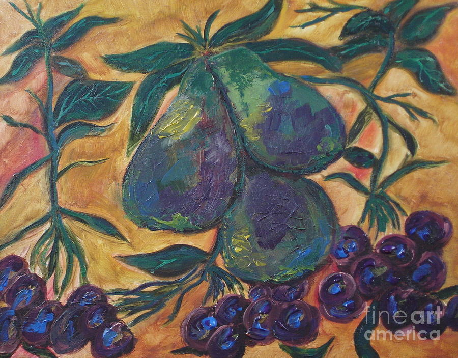 Pears and grapes by Shelley Jones