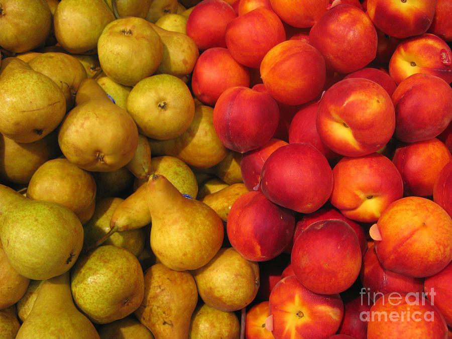 Pears Photograph - Pears And Peaches. Fresh Market Series by Ausra Huntington nee Paulauskaite