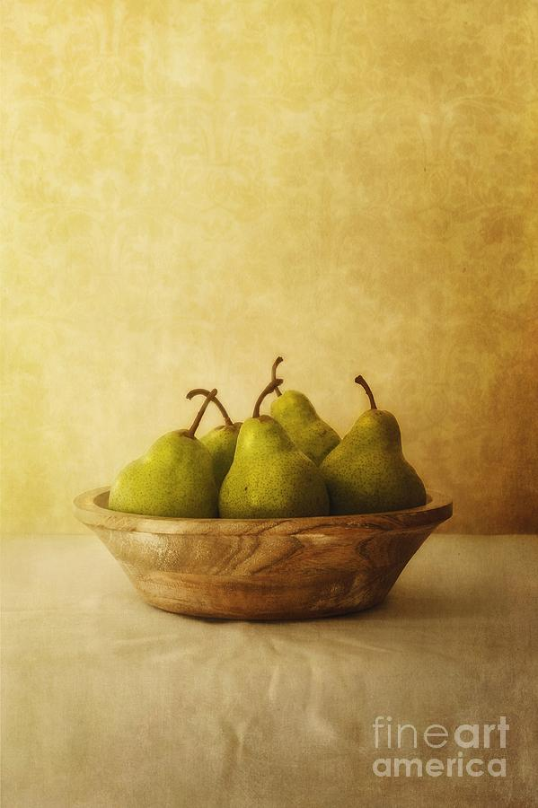 Fruit Photograph - Pears In A Wooden Bowl by Priska Wettstein