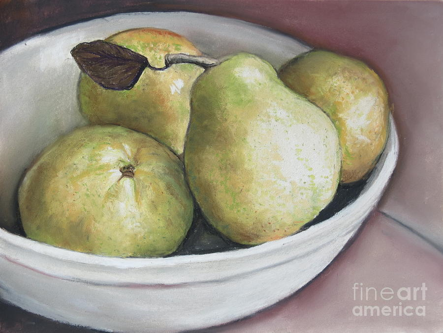 Pears Drawing - Pears In Bowl by Charlotte Yealey