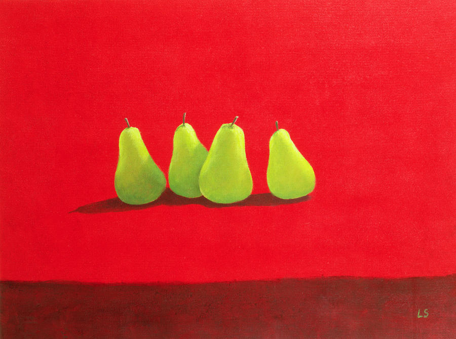 Fruit; Still Life; Pear Painting - Pears On Red Cloth by Lincoln Seligman