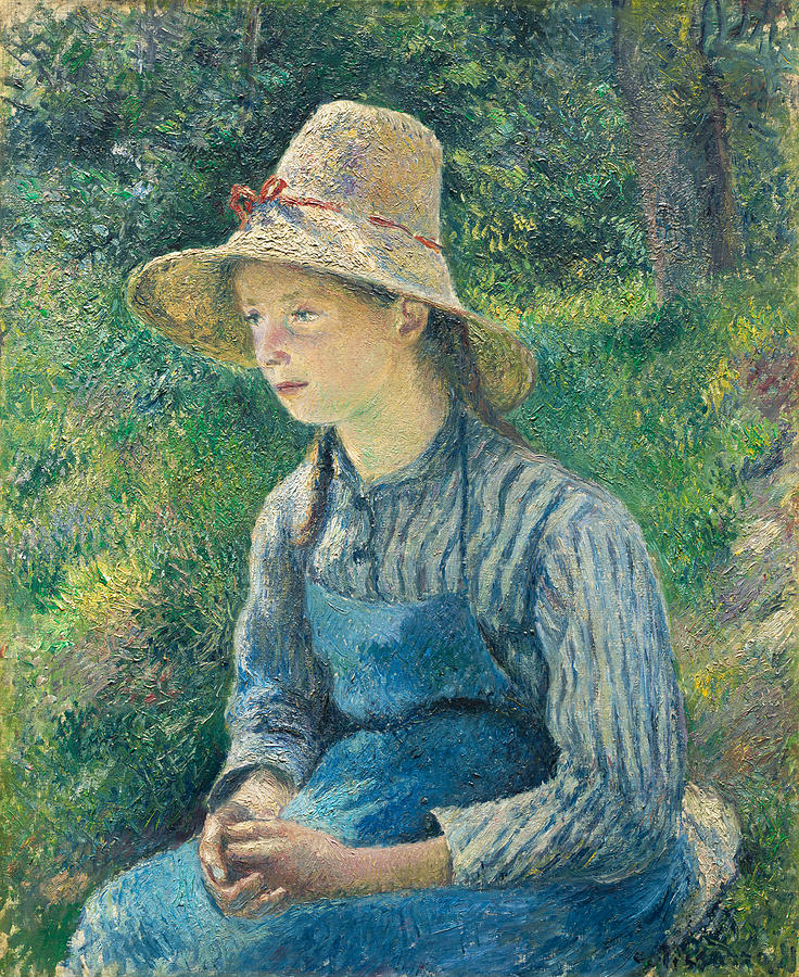 Camille Pissarro Painting - Peasant Girl With A Straw Hat by Camille Pissarro