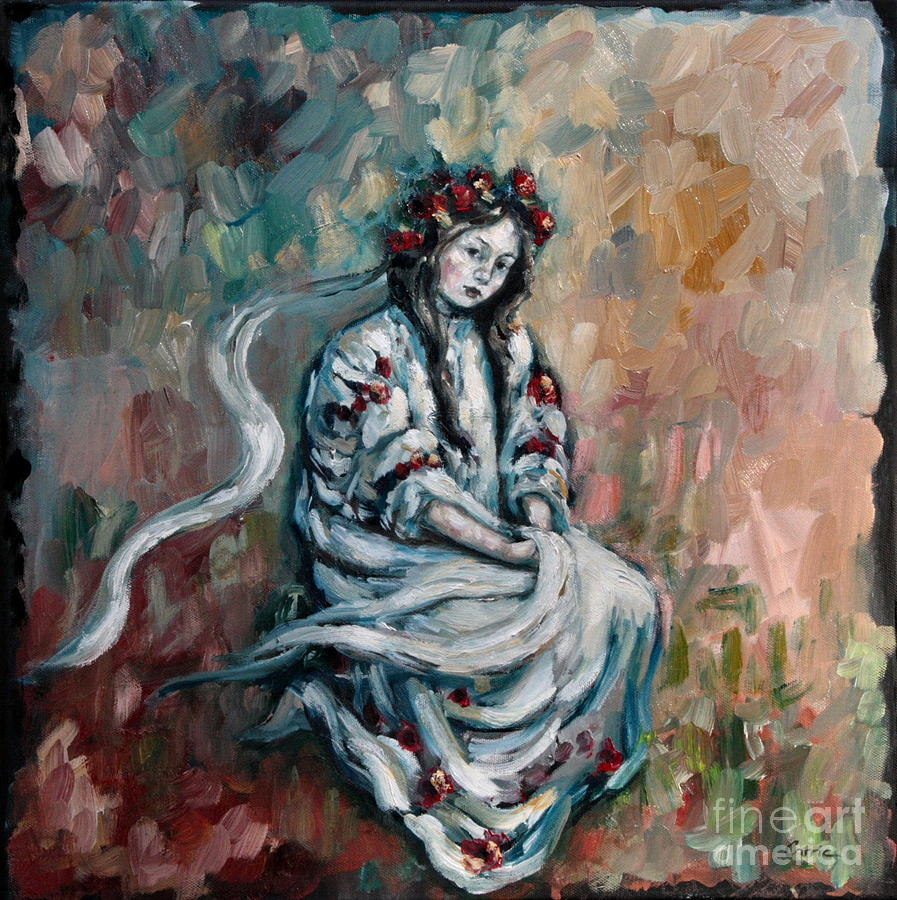 Lady Painting - Peasant Of Peace by Carrie Joy Byrnes