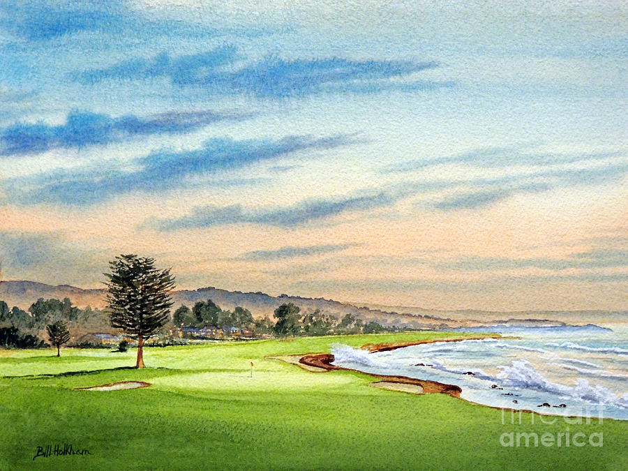 Pebble Beach Golf Course Painting - Pebble Beach Golf Course 18th Hole by Bill Holkham