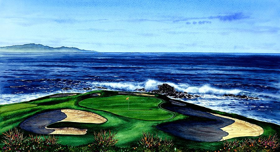 Pebble Beach Golf Course Painting By John Yato