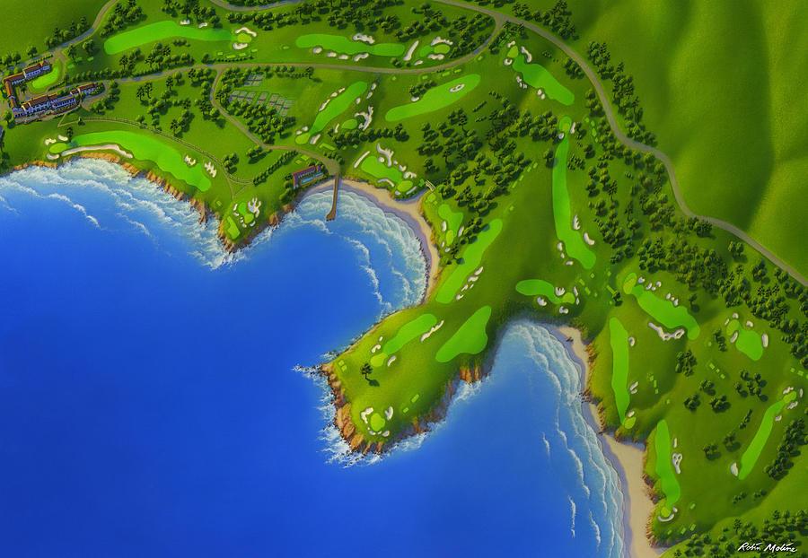 Pebble Beach Golf Links Painting - Pebble Beach Golf Course by Robin Moline