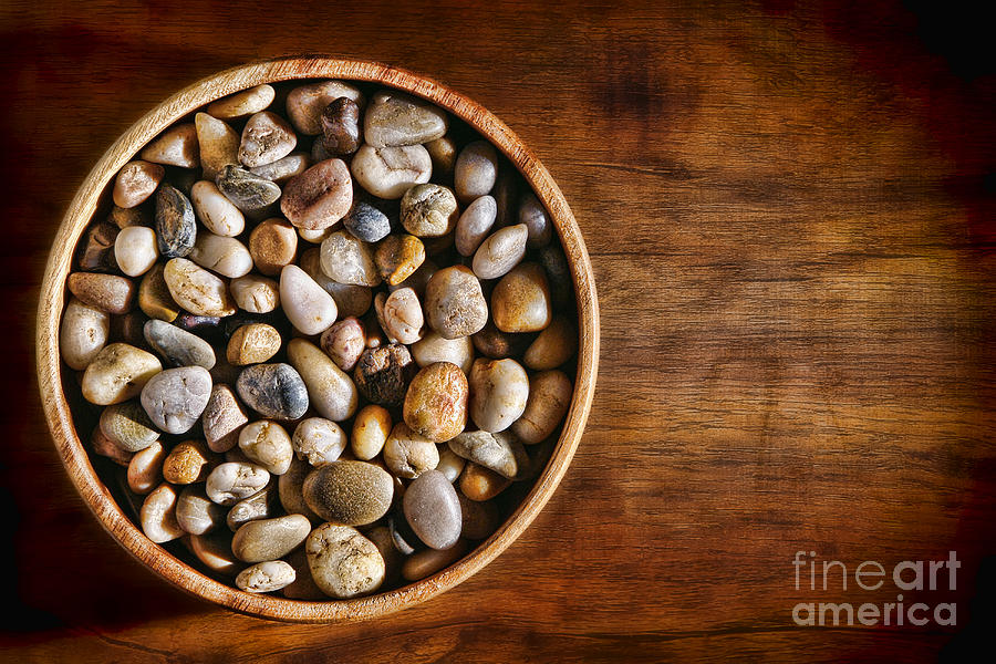 Pebbles Photograph - Pebbles In Wood Bowl by Olivier Le Queinec