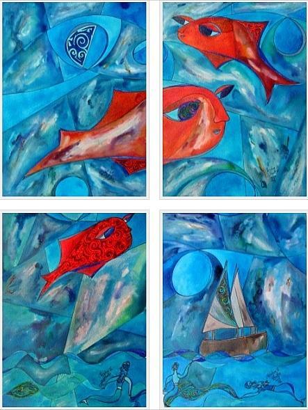 Fish Painting - Peces En Un Sueno / Fish In A Dream by Christine Bonnie Ghattas