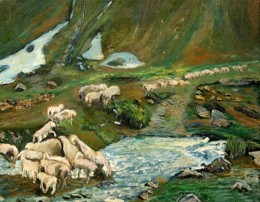Nature Painting - Pecore by Niki Mastromonaco