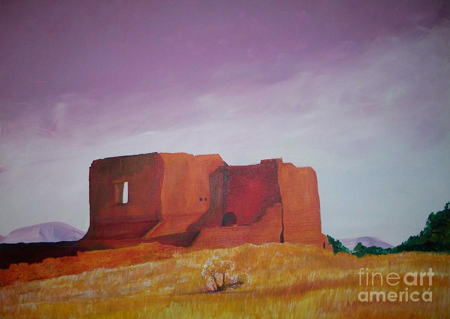 Western Painting - Pecos Mission Landscape by Eric  Schiabor
