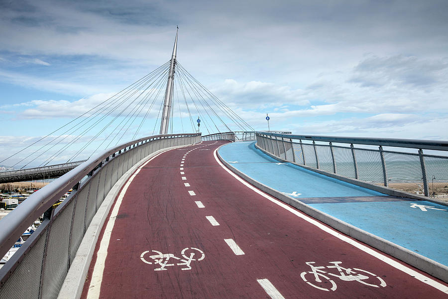 Pedestrian And Cycle Bridge In Pescara Photograph by Walter Zerla